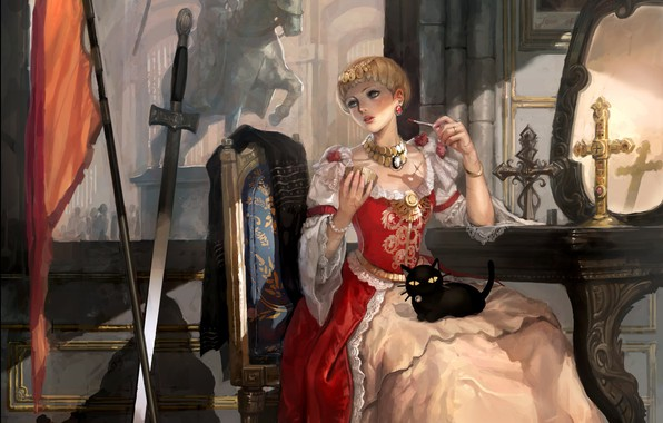 Картинка девушка, оружие, замок, котик, крест, меч, зеркало, арт, фрагмент, леди, The Dress Of Joan Of …