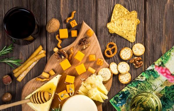 Картинка сыр, печенье, орехи, мёд