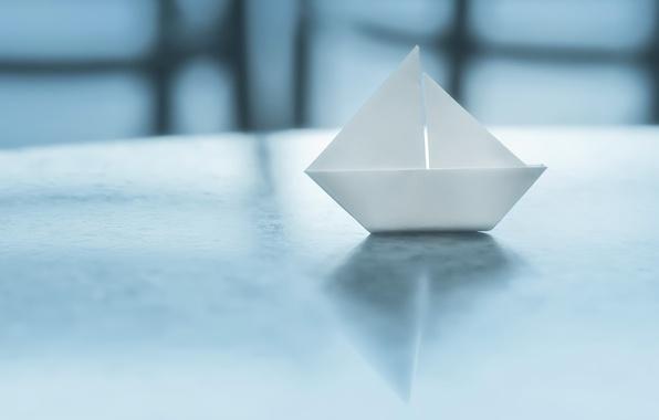 Картинка бумага, фон, кораблик, оригами