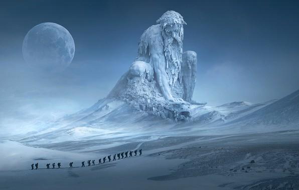 Картинка холод, зима, небо, снег, пейзаж, горы, поза, туман, рендеринг, люди, фантастика, луна, вершины, человек, планета, …