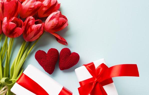 Картинка любовь, цветы, букет, подарки, сердечки, тюльпаны, день влюбленных