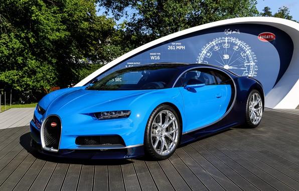 Картинка bugatti, blue, podium, chiron