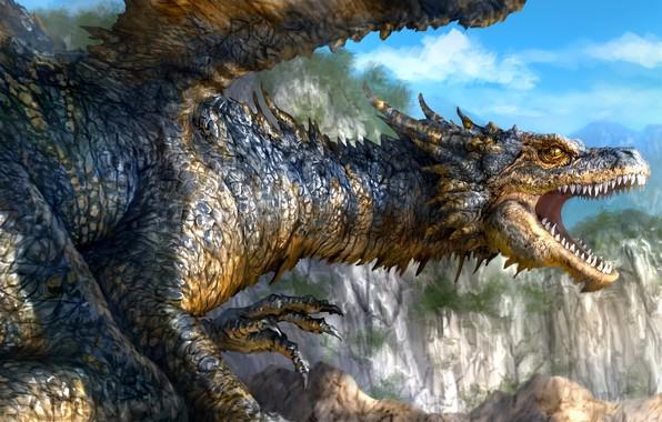 Картинка скалы, дракон, арт, пасть, фэнтази