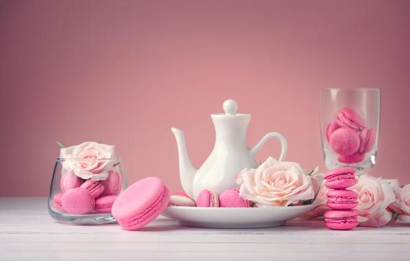 Картинка цветы, розы, десерт, pink, flowers, пирожные, сладкое, sweet, dessert, roses, macaroon, french, macaron, макаруны