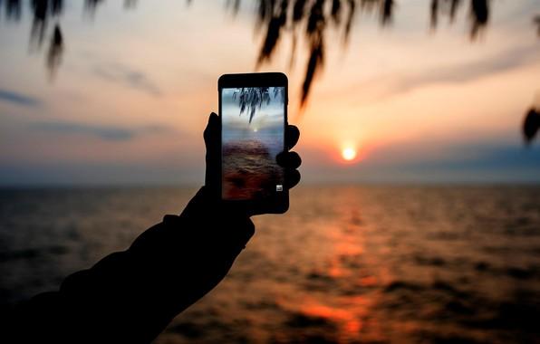 Картинка море, закат, фото, телефон
