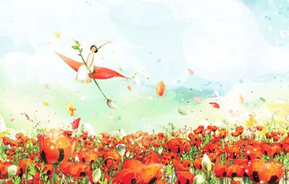 Картинка небо, облака, фантазия, рисунок, весна, лепестки, фея, акварель, маковое поле, Дюймовочка, сказочная картинка, полет на ...