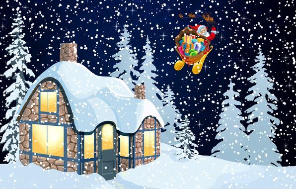 Картинка Зима, Минимализм, Ночь, Снег, Дом, Фон, Новый год, Санта, Праздник, Санта Клаус, Олени, Настроение
