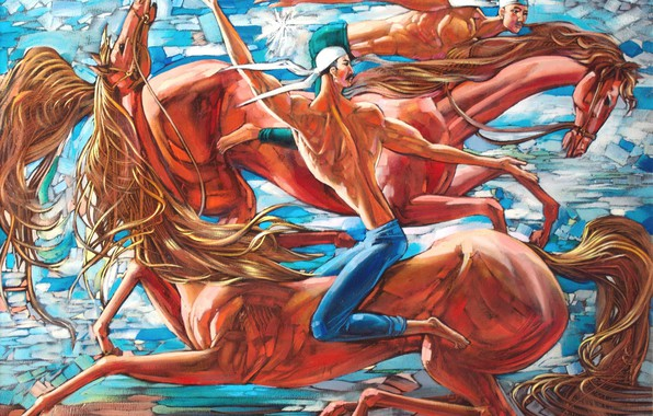 Картинка двое мужчин, два коня, Айбек Бегалин, 2013г, Джигиты
