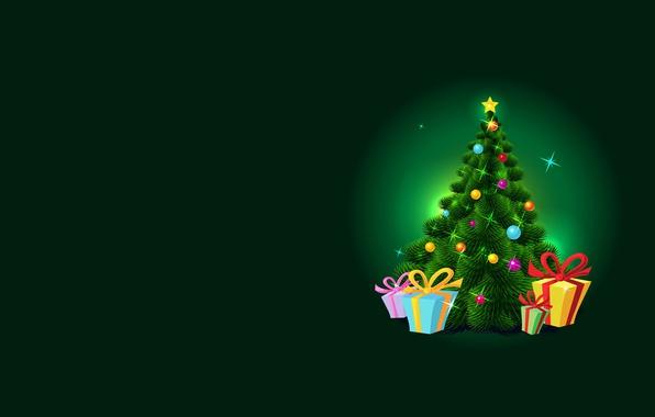 Картинка праздник, минимализм, вектор, арт, подарки, Новый год, ёлочка