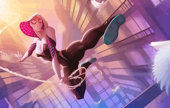 Картинка Солнце, Паутина, Птица, Костюм, Герой, Маска, Комикс, Капюшон, Супергерой, Hero, Арт, Art, Web, Sun, Marvel, …