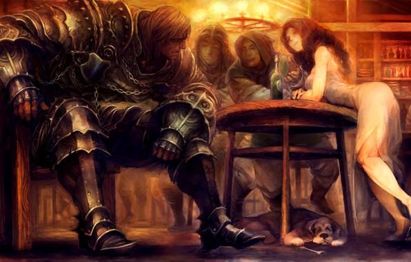 Картинка girl, fantasy, soldier, armor, Warrior, dog, men, digital art, artwork, table, fantasy art, knight, bottle, …