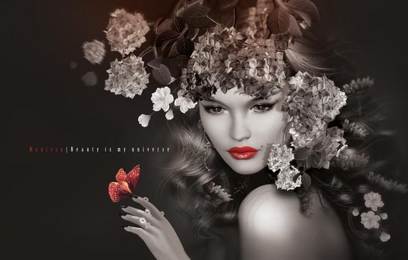 Картинка девушка, цветы, губы, венок