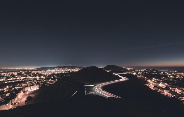 Картинка lights, night, san francisco, twin peaks