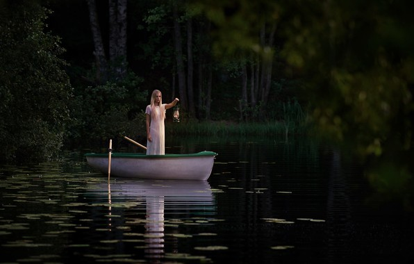 Картинка девушка, лодка, лампа, The Lake, Jörgen Petersen
