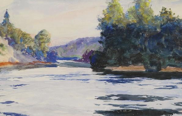 Картинка рисунок, акварель, Frank Weston Benson, Речной пейзаж