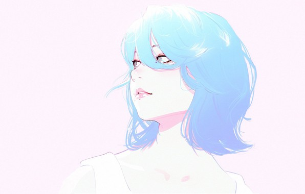 Картинка лицо, стрижка, голубые волосы, челка, портрет девушки, Илья Кувшинов