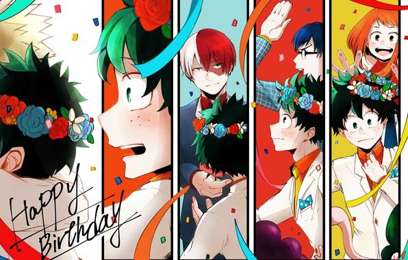 Картинка аниме, арт, Boku no Hero Academia, Моя геройская академия, Тодороки Шото, Мидория