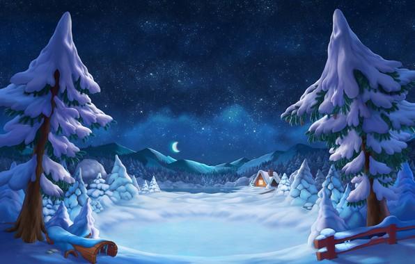 Картинка house, forest, Winter, sky, trees, landscape, nature, mountains, snow, stars, digital art, artwork, illustration, starry …