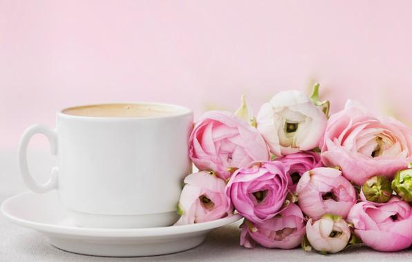 Картинка цветы, розы, чашка, розовые, pink, flowers, beautiful, cup, romantic, coffee, roses, tender