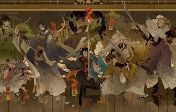Картинка оружие, игра, аниме, арт, парни, персонажи, Touken Ranbu