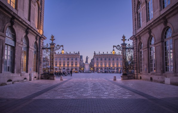 Фото обои улица, Франция, здания, дома, площадь, фонари, памятник, France, Nancy, Площадь Станислава, Нанси, Place Stanislas, Памятник ...
