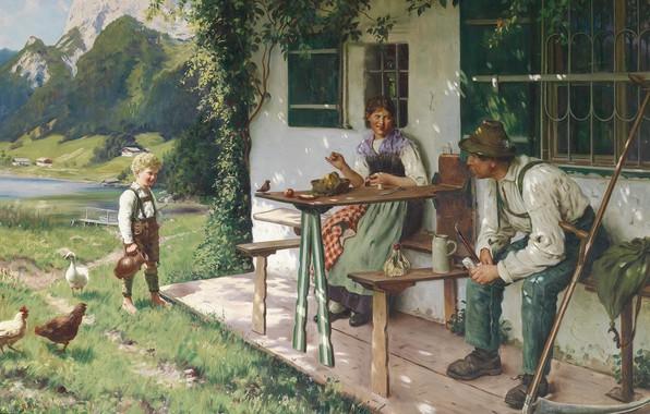 Картинка 1937, German painter, немецкий живописец, Летний дом перед домом, Emil Rau, Summer day in front ...
