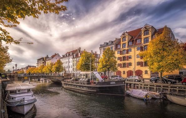Картинка осень, город, Дания, канал, столица, Копенгаген