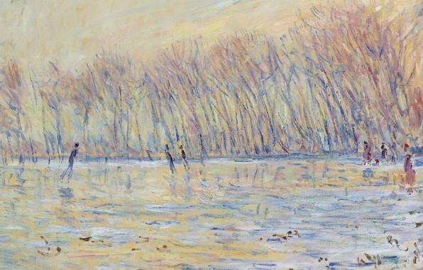 Картинка пейзаж, картина, Claude Monet, Клод Моне, Катающиеся на Коньках в Живерни