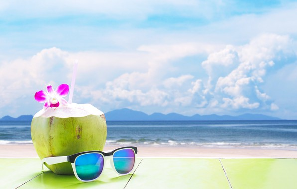 Картинка песок, море, пляж, лето, отдых, кокос, очки, коктейль, summer, beach, каникулы, sea, sand, drink, coconut, …