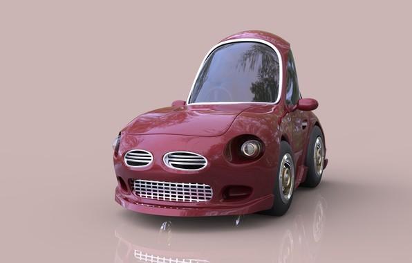 Картинка арт, машинка, детская, Cartoon Cherry Red Stylized Car, Jonathan Israel Johnson