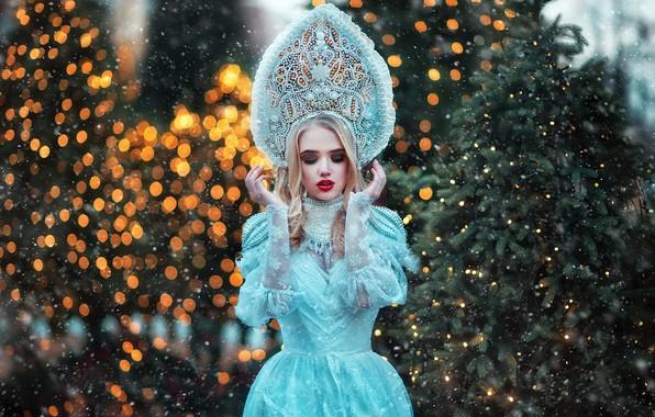 Картинка поза, блики, стиль, модель, наряд, Снегурочка, Мария Липина, Лида Домрачева