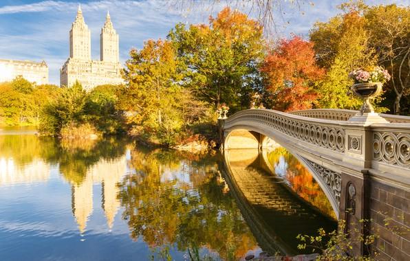 Картинка осень, мост, озеро, Нью-Йорк, США, Центральный парк