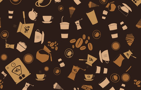 Картинка фон, vector, кофе, вектор, текстура, background, pattern, coffee, seamless