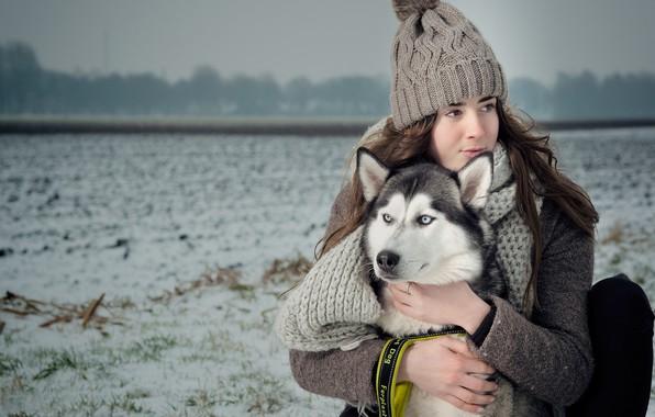 Картинка зима, поле, девушка, настроение, шапка, собака, шарф, дружба, друзья, хаски