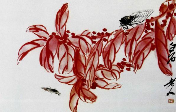 Картинка ягоды, муха, красные листья, китайская живопись, Ци Бай-ши