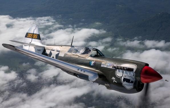 Картинка череп, самолёт, летит, Curtiss P-40