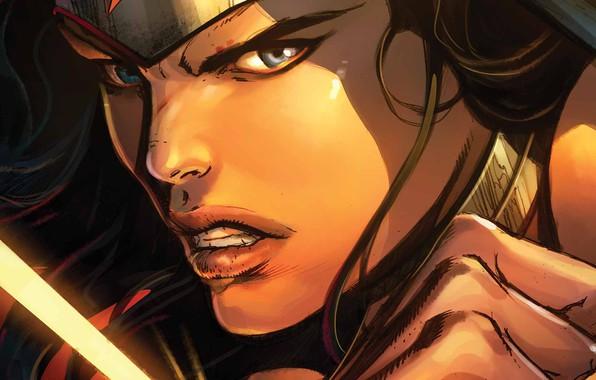 Картинка Взгляд, Лицо, Герой, Комикс, Wonder Woman, Супергерой, Hero, DC Comics, Голубые глаза, Face, Диана, Diana, …