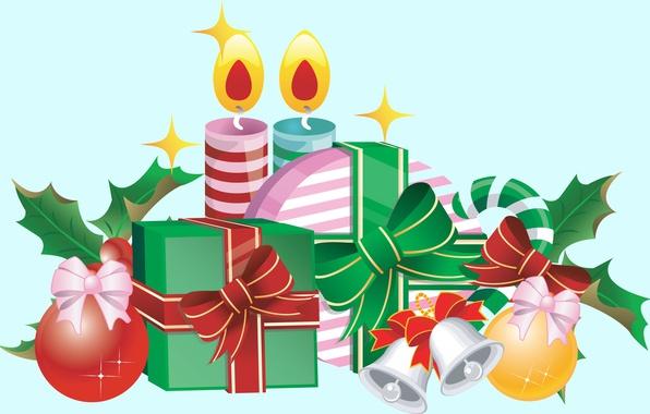 Картинка праздник, вектор, свечи, арт, подарки, Новый год