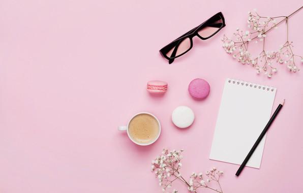Картинка цветы, кофе, love, розовые, pink, flowers, beautiful, cup, romantic, coffee, macaron, tender, макаруны