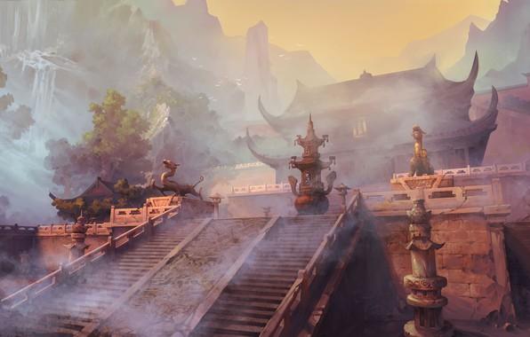 Картинка фэнтези, храм, древний китай