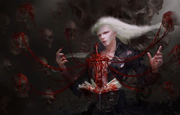 Картинка кровь, вампир, черепа, заклинание, красные глаза, art, vampire, чернокнижник, черная магия, Yi Ren