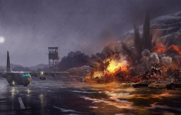 Картинка небо, машины, взрыв, ночь, фантастика, дождь, огонь, пламя, луна, дым, рисунок, арт, ангар, вышка, самолёт, …