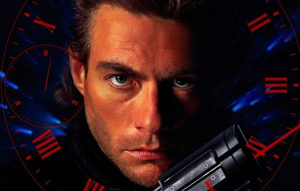 Картинка pistol, weapon, man, face, martial artist, Jean-Claude Van Damme, Van Damme, 1994, Timecop