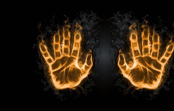 Картинка огонь, арт, ладонь, отпечаток, пальчики