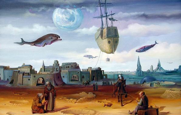 Картинка городок, рыбаки, киты, Сюрреализм, летающий корабль, Сны о рыбалке, Лазарев И.А