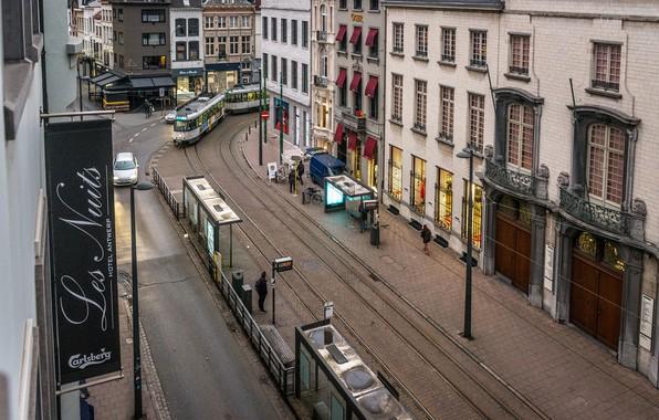 Картинка Город, Панорама, Улица, Здания, Бельгия, Street, Belgium, Building, Panorama, Town, Антверпен, Antwerpen, Трамваи