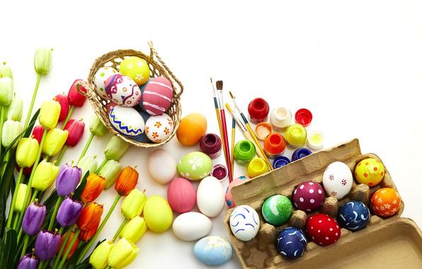 Картинка цветы, яйца, весна, colorful, Пасха, тюльпаны, flowers, tulips, spring, Easter, eggs, decoration, Happy