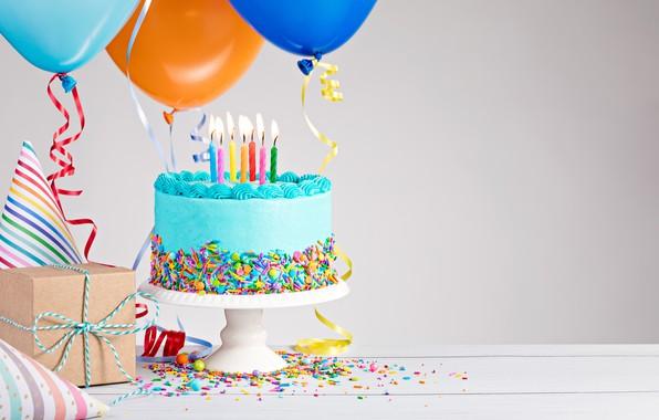 Картинка воздушные шары, день рождения, colorful, торт, cake, Happy Birthday, celebration, candles, decoration
