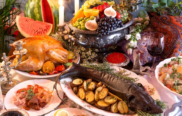 Картинка вино, бокал, апельсин, курица, арбуз, клубника, виноград, фрукты, ананас, роскошь, застолье, икра, салат, картофель, ассорти, …