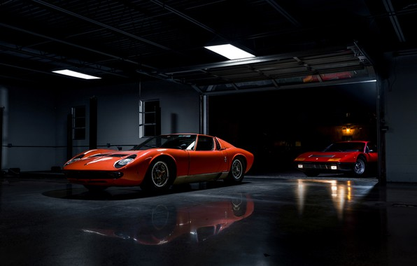 Фото обои ретро, Lamborghini Miura, Ferrari 365 BB